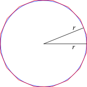 Circle inscribed in 16-gon