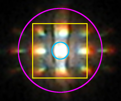Interference pattern with computed features marked